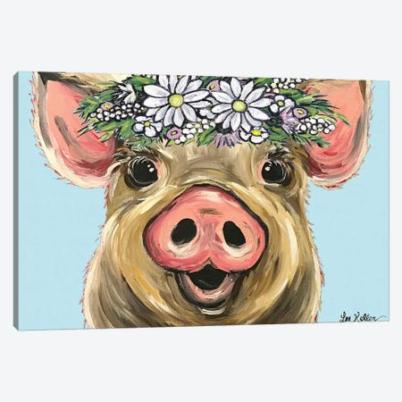 Pig Posey On Turquoise Daisies Canvas Print #HHS447} by Hippie Hound Studios Art Print