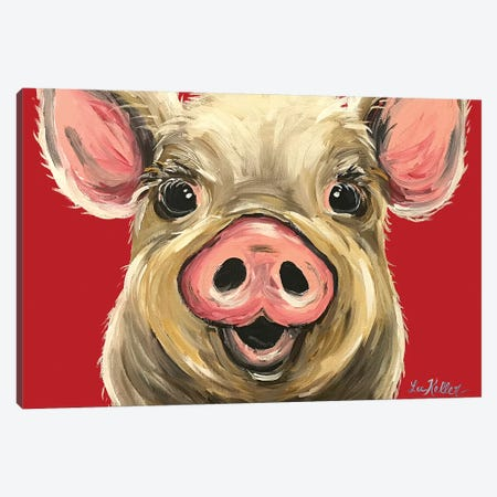 Pig Rosie On Red Canvas Print #HHS448} by Hippie Hound Studios Canvas Artwork