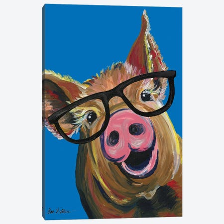 Pig Wilbur Glasses Blue Canvas Print #HHS449} by Hippie Hound Studios Canvas Wall Art