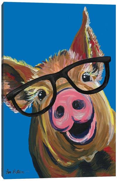 Pig Wilbur Glasses Blue Canvas Art Print