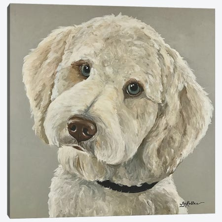 Goldendoodle With Blue Eyes 3-Piece Canvas #HHS44} by Hippie Hound Studios Canvas Art Print