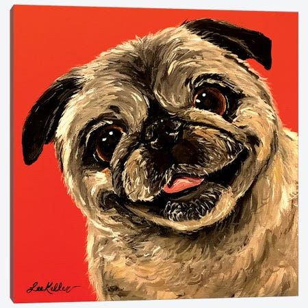Pug On Orange Canvas Print #HHS461} by Hippie Hound Studios Canvas Artwork