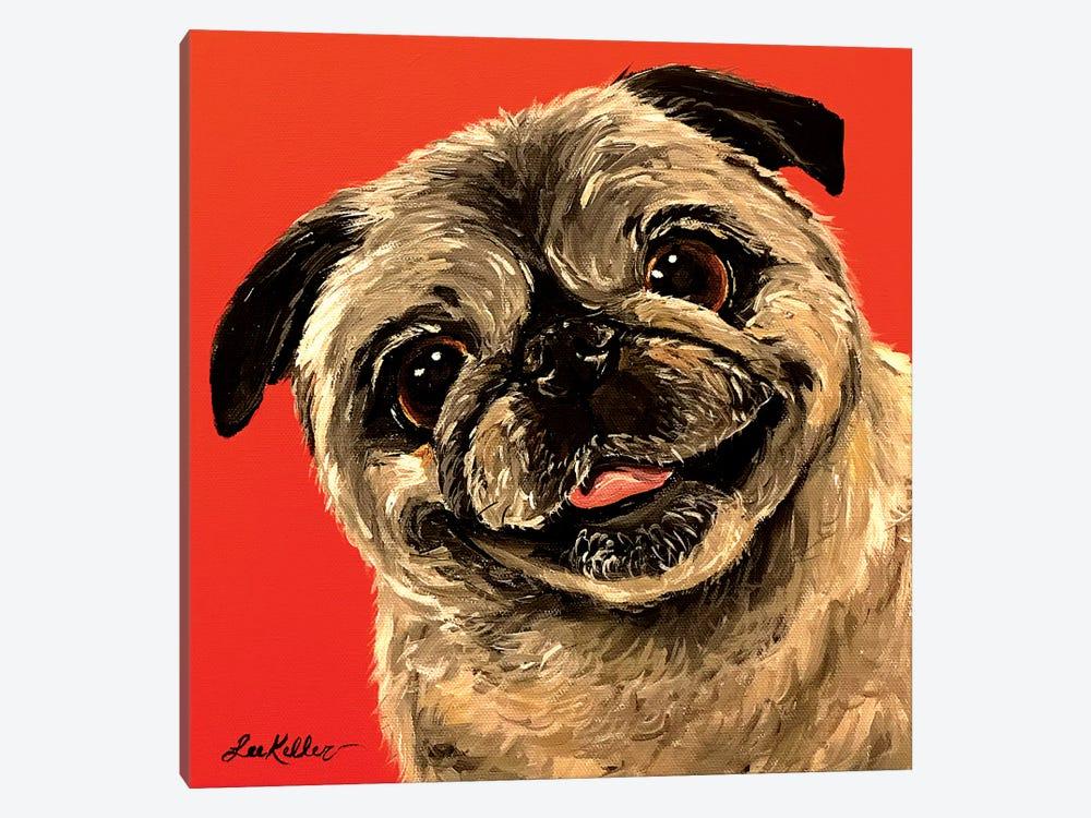 Pug On Orange by Hippie Hound Studios 1-piece Canvas Art Print