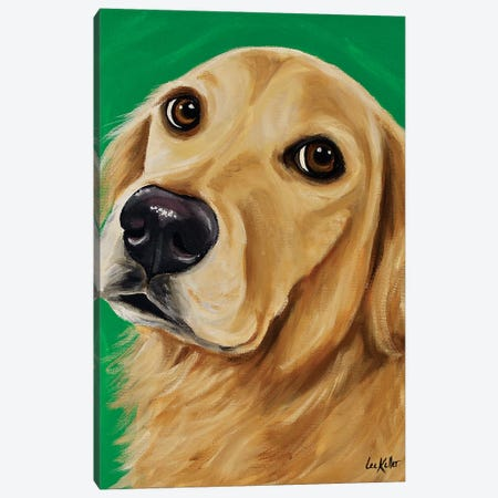 Ryder Golden Retriever On Green Canvas Print #HHS469} by Hippie Hound Studios Canvas Art