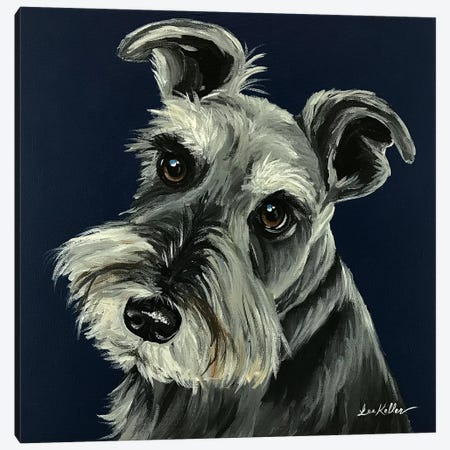Schnauzer Navy Canvas Print #HHS472} by Hippie Hound Studios Art Print