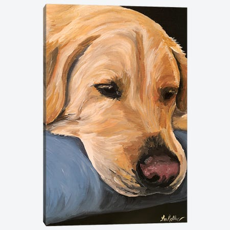 Sleepy Yellow Lab Canvas Print #HHS477} by Hippie Hound Studios Canvas Wall Art