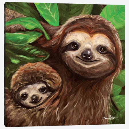Sloth All Smiles Canvas Print #HHS478} by Hippie Hound Studios Art Print