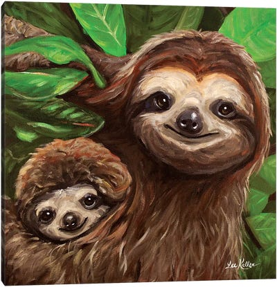 Sloth All Smiles Canvas Art Print