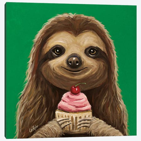 Sloth With Cupcake 'It's For You' Canvas Print #HHS479} by Hippie Hound Studios Canvas Print