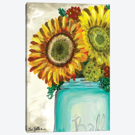 Sunflower 'Flowers From The Farm' Canvas Print #HHS482} by Hippie Hound Studios Canvas Art
