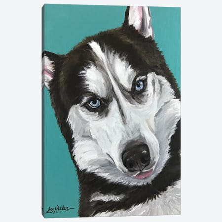 Husky On Seafoam Canvas Print #HHS48} by Hippie Hound Studios Canvas Artwork