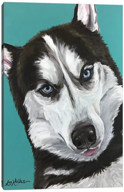 Husky On Seafoam Canvas Art Print