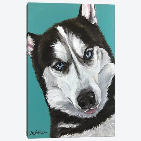 Husky On Seafoam Canvas Print #HHS48} by Hippie Hound Studios Canvas Artwork