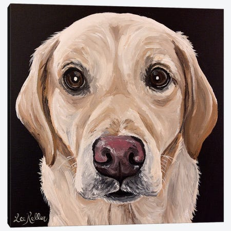 Yellow Lab On Black Canvas Print #HHS490} by Hippie Hound Studios Canvas Print