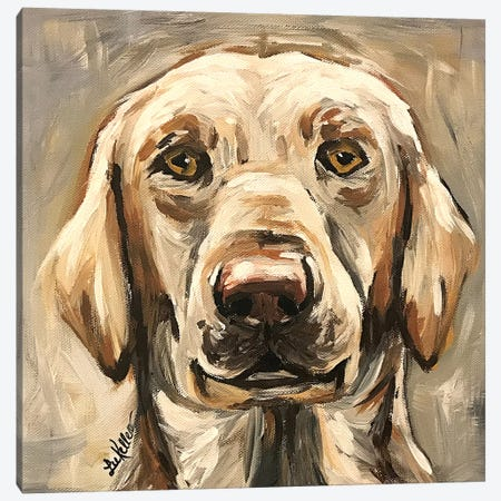 Yellow Lab On Neutral Canvas Print #HHS492} by Hippie Hound Studios Canvas Print