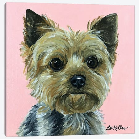 Yorkie Pink Canvas Print #HHS493} by Hippie Hound Studios Art Print