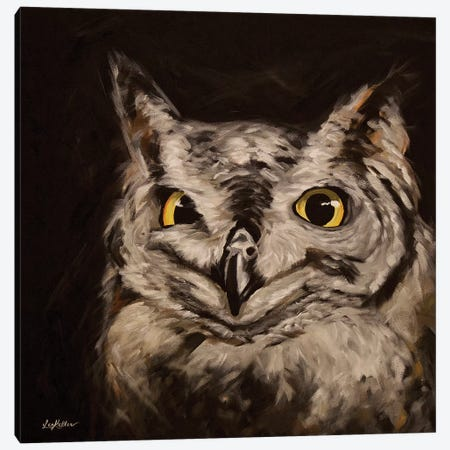 Midnight, Owl Art Canvas Print #HHS504} by Hippie Hound Studios Canvas Wall Art