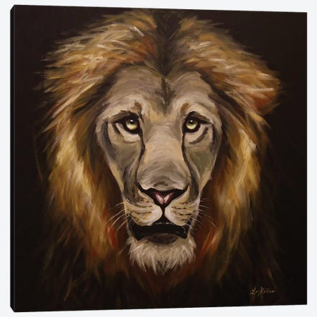 Trust Me Lion Painting Canvas Print #HHS510} by Hippie Hound Studios Canvas Artwork