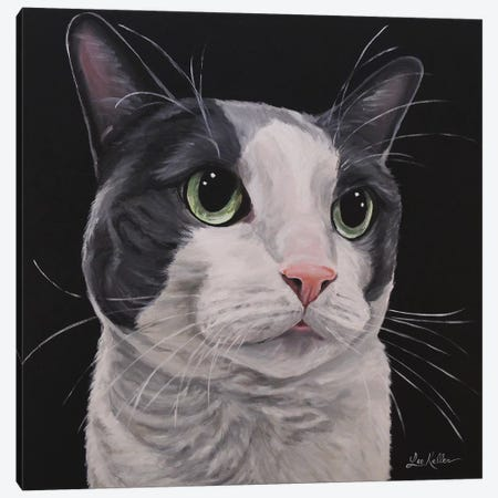 Asher, Grey Tuxedo Cat Canvas Print #HHS515} by Hippie Hound Studios Art Print