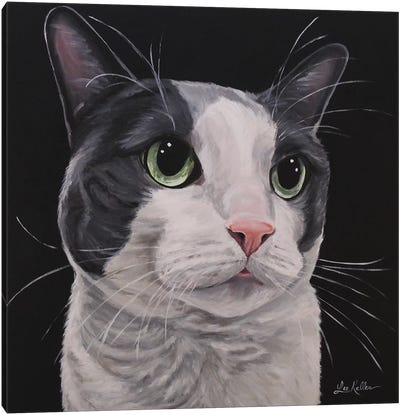 Asher, Grey Tuxedo Cat Canvas Art Print