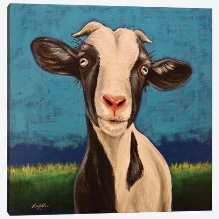 Luna The Goat Canvas Print #HHS518} by Hippie Hound Studios Canvas Wall Art
