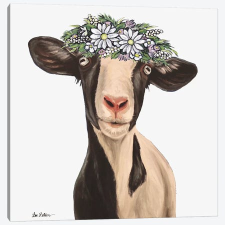 Luna The Goat With Daisy Flower Crown Canvas Print #HHS519} by Hippie Hound Studios Canvas Wall Art