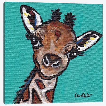 Lucy The Giraffe Canvas Print #HHS51} by Hippie Hound Studios Art Print