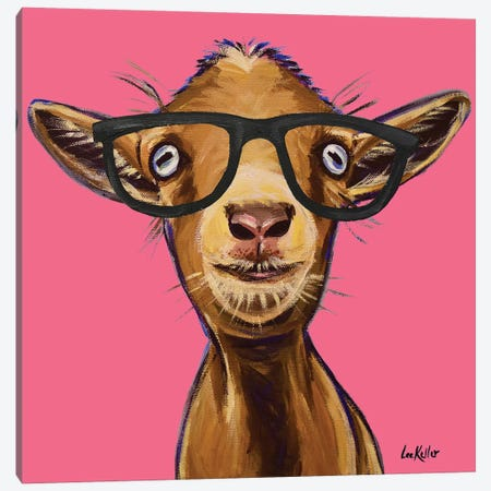Poundcake The Goat With Glasses Canvas Print #HHS521} by Hippie Hound Studios Canvas Print