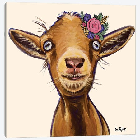 Poundcake The Goat With Flowers Canvas Print #HHS522} by Hippie Hound Studios Canvas Art Print