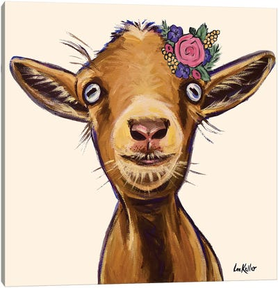 Poundcake The Goat With Flowers Canvas Art Print