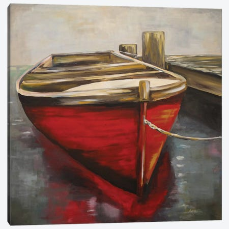 Happy Place, Boat Painting Canvas Print #HHS526} by Hippie Hound Studios Canvas Artwork