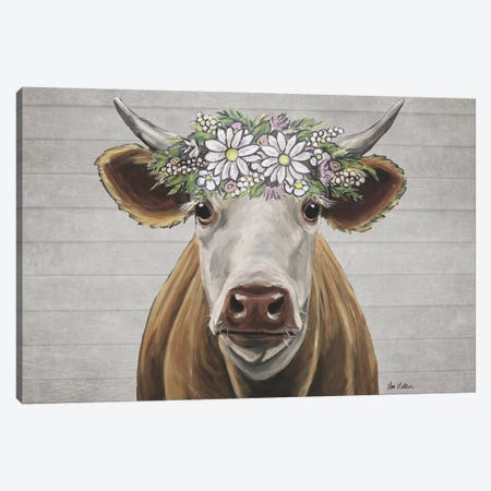Tank The Cow With Daisy Flower Crown Canvas Print #HHS531} by Hippie Hound Studios Canvas Wall Art