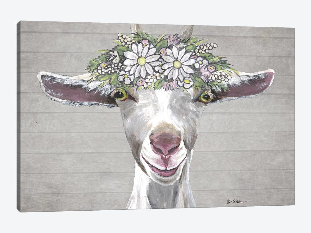 Patsy The Goat With Daisy Flower Crown by Hippie Hound Studios 1-piece Canvas Artwork