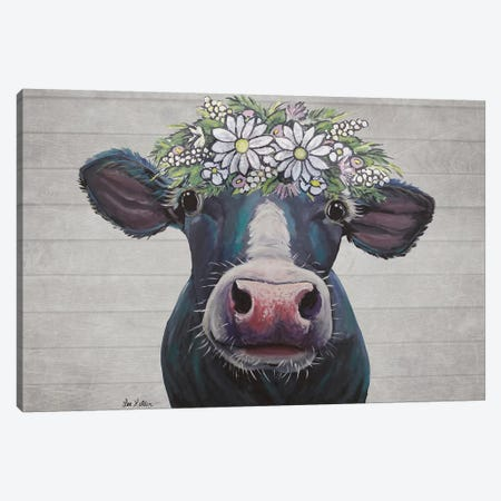 Clara The Cow With Daisies Farmhouse Style Canvas Print #HHS533} by Hippie Hound Studios Canvas Wall Art