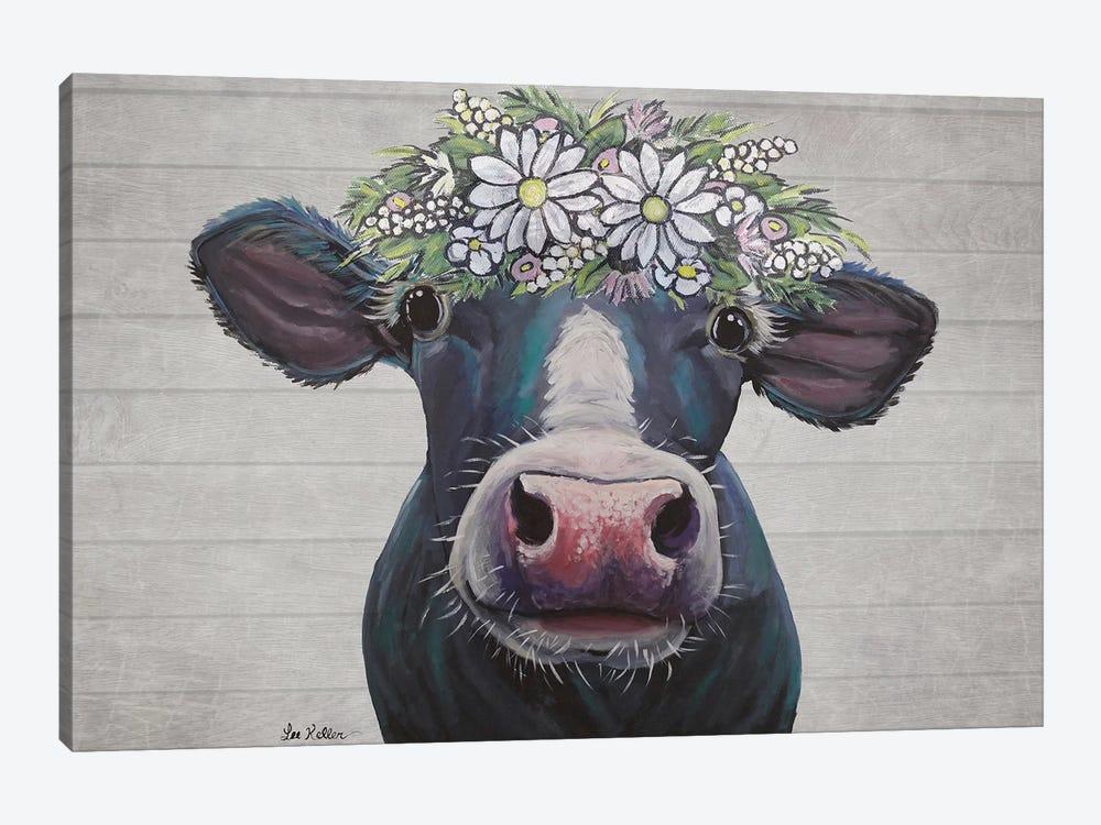 Clara The Cow With Daisies Farmhouse Style by Hippie Hound Studios 1-piece Art Print