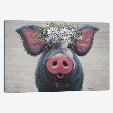 Lulu The Pig With Daisies Farmhouse Style Canvas Print #HHS534} by Hippie Hound Studios Canvas Print