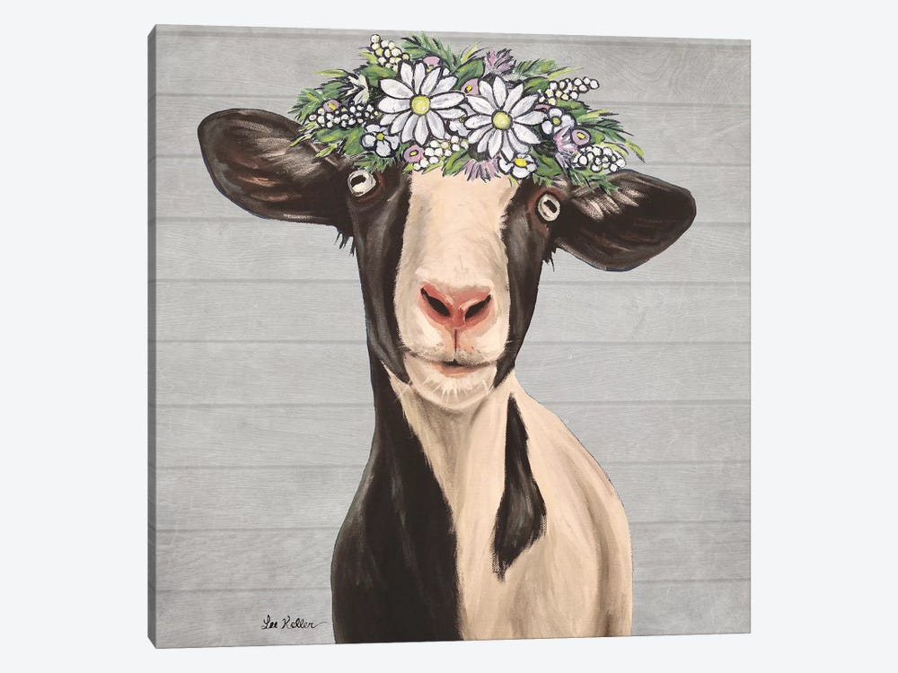Luna The Goat With Daisies Farmhouse Style by Hippie Hound Studios 1-piece Canvas Artwork