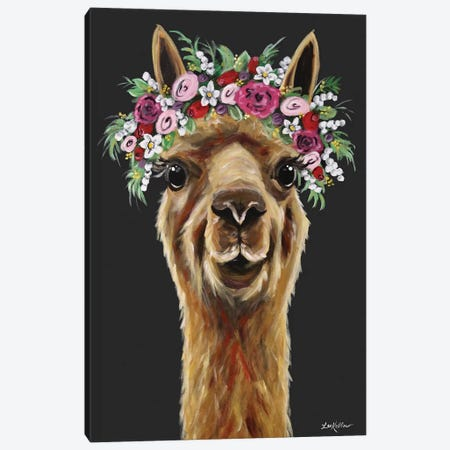 Fiona The Alpaca With Flower Crown On Black Canvas Print #HHS538} by Hippie Hound Studios Canvas Wall Art