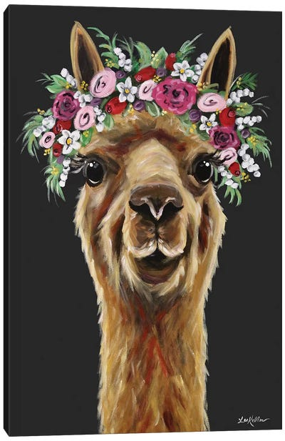 Fiona The Alpaca With Flower Crown On Black Canvas Art Print