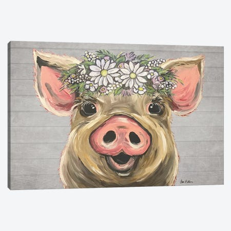 Posey The Pig With Daisies Farmhouse Style Canvas Print #HHS539} by Hippie Hound Studios Canvas Artwork