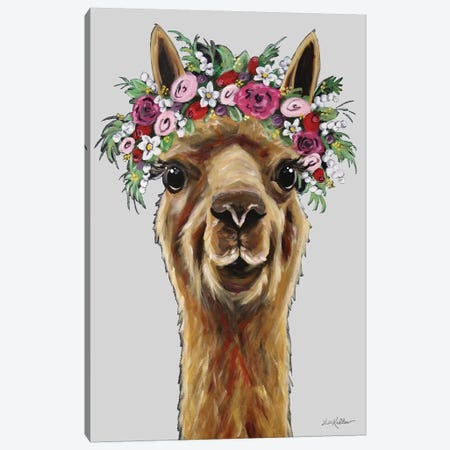 Fiona The Alpaca With Flower Crown On Gray Canvas Print #HHS540} by Hippie Hound Studios Canvas Art Print