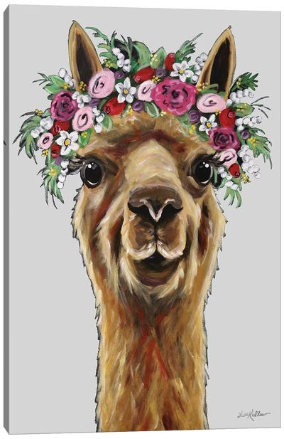 Fiona The Alpaca With Flower Crown On Gray Canvas Art Print