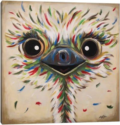 Phyllis The Ostrich On Tan Canvas Art Print