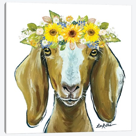 Madge The Goat With Sunflowers Flower Crown Canvas Print #HHS543} by Hippie Hound Studios Art Print