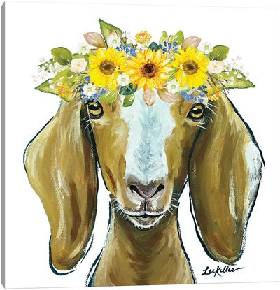 Madge The Goat With Sunflowers Flower Crown Canvas Art Print