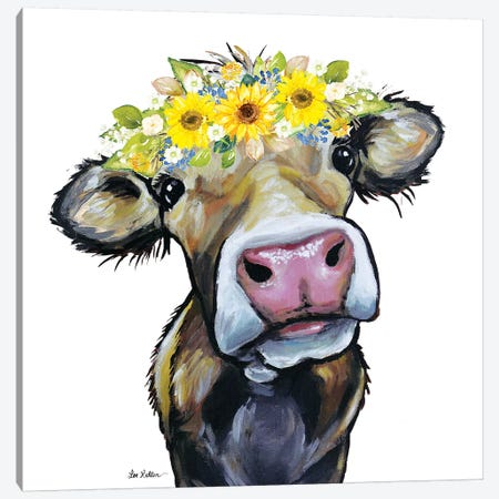 Hazel The Cow With Sunflower Flower Crown Canvas Print #HHS544} by Hippie Hound Studios Canvas Wall Art