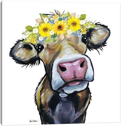 Hazel The Cow With Sunflower Flower Crown Canvas Art Print