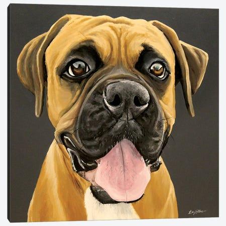 Happy Boxer Canvas Print #HHS546} by Hippie Hound Studios Canvas Artwork