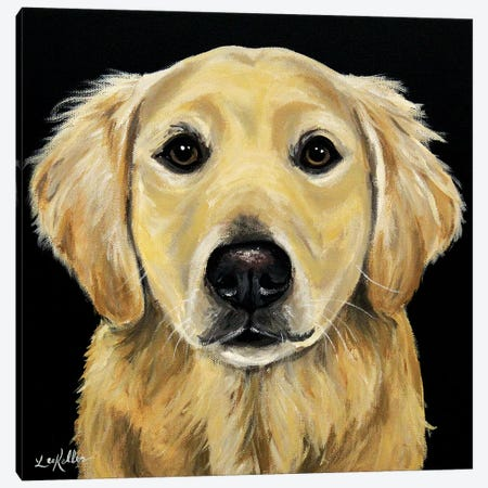 Golden Retriever On Black Canvas Print #HHS547} by Hippie Hound Studios Canvas Wall Art