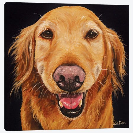 Smiling Golden Retriever On Black 3-Piece Canvas #HHS548} by Hippie Hound Studios Canvas Art Print